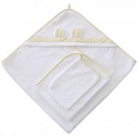 Набор для купания из 3 предметов. Полотенце, рукавичка. (Белый)
