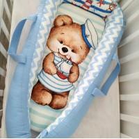 """Кокон-гнездышко для новорожденного """"Мишка -морячок"""""""