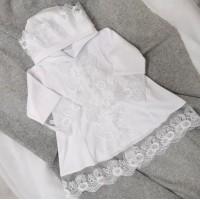 Платье для крещения с капюшоном 74-80р, белый
