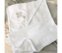 Крестильная махровая пеленка с уголком