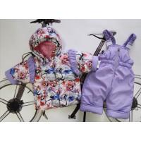 Комплект утепленный ясельный для девочки куртка+комбинезон