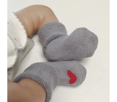 Носочки махровые серые с кр. сердечком 4-6 см
