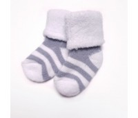Носочки махровые для недоношенных детей Серая полоска 4-6 см