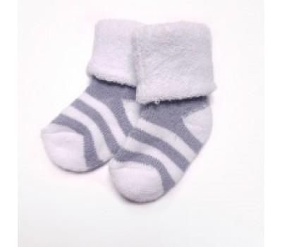 Носочки махровые для недоношенных детей Серая полоска 6-8 см