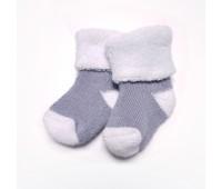 Носочки махровые Серые с белым для маловесных детей 6-8 см