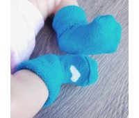 Носочки махровые бирюзовые с сердечком 6-8 см