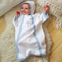 Крестильный набор для мальчика 56-62р (рубашка крестильная, чепчик)