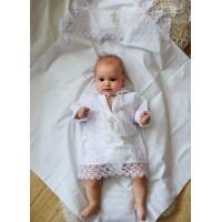 Крестильный набор для мальчика (рубашка, пеленка)