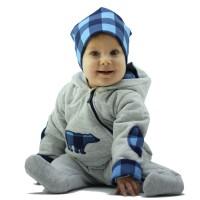 Комбинезон для новорожденного, синяя клетка