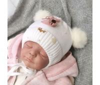 Зимняя шапочка с помпонами для девочки 36-38р