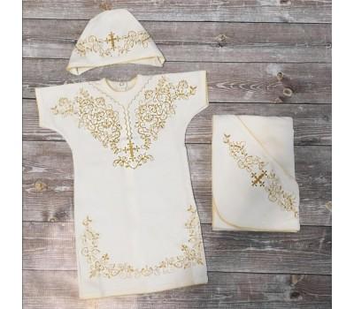 Крестильный комплект с принтом (золото, серебро)
