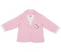 Кардиган для девочки розовый в клетку 112-546б-01