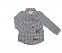 Рубашка для мальчика в черную клеточку 123-131-01