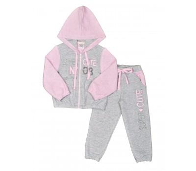 Костюм для девочки серо-розовый 139-83.4-01