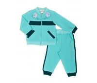 Комплект для девочки мята (жакет+брюки) 140-84.6-01