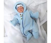 Комбинезон утепленный, велюр для маловесных детей Голубой