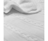 Вязаный белый плед утепленный Коса 110*90