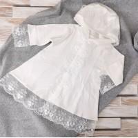 Платье для крещения с капюшоном 62-68р и 74-80, экрю