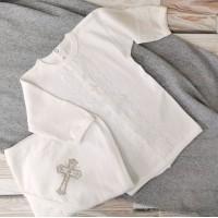 Крестильный комплект 62-68р и 74-80р, экрю (рубашка+уголок)