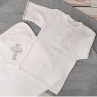 Комплект для крещения 62-68р, 74-80р, экрю (рубашка+уголок)